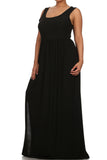 Plus Size Pier Days High Slit Black Maxi Dress