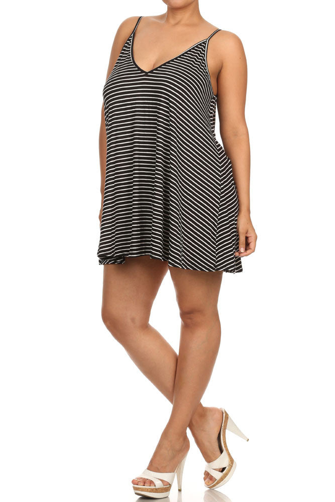 Plus Size Summer V Neck Striped Tunic Dress