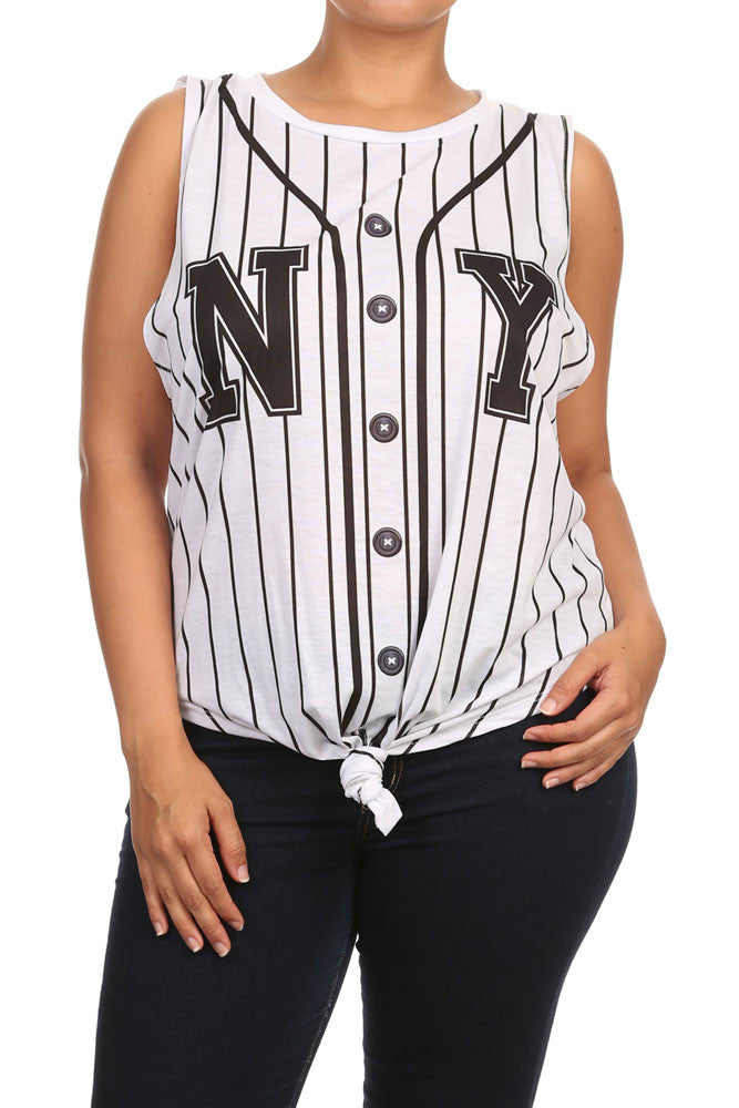 Plus Size New York Front Knot Striped Top - $17.99- from: plussizefix.com