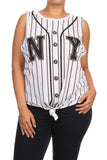 Plus Size New York Front Knot Striped Top