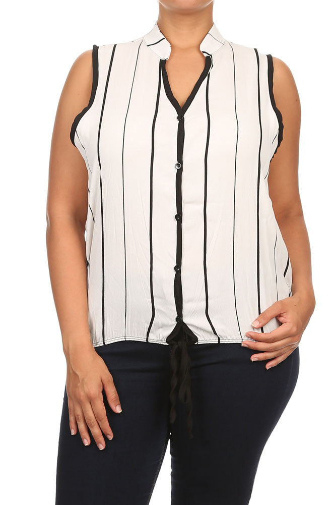 Plus Size Sleeveless Stripe Button Up White Blouse