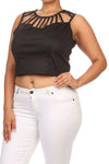 Plus Size Trendy Structure Strap Black Top