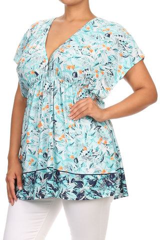 Plus Size Summer Breeze Flower Blue Top