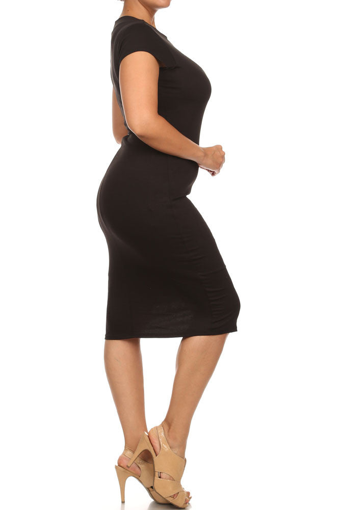 Plus Size Downtown Chic Black Midi Dress