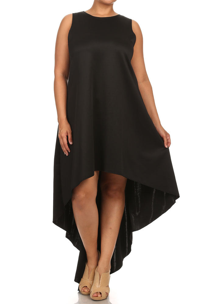 Plus Size Dip Hem Chic Black Maxi Shirt Dress