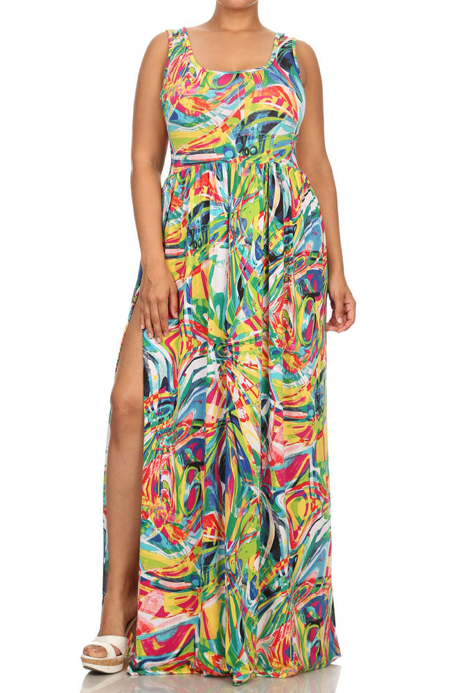 Plus Size Sexy Island Vibes Maxi Pink Dress