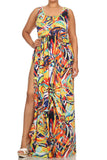 Plus Size Sexy Island Vibes Maxi Orange Dress
