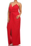 Plus Size Memorable Drapey Knot Front Red Maxi Dress