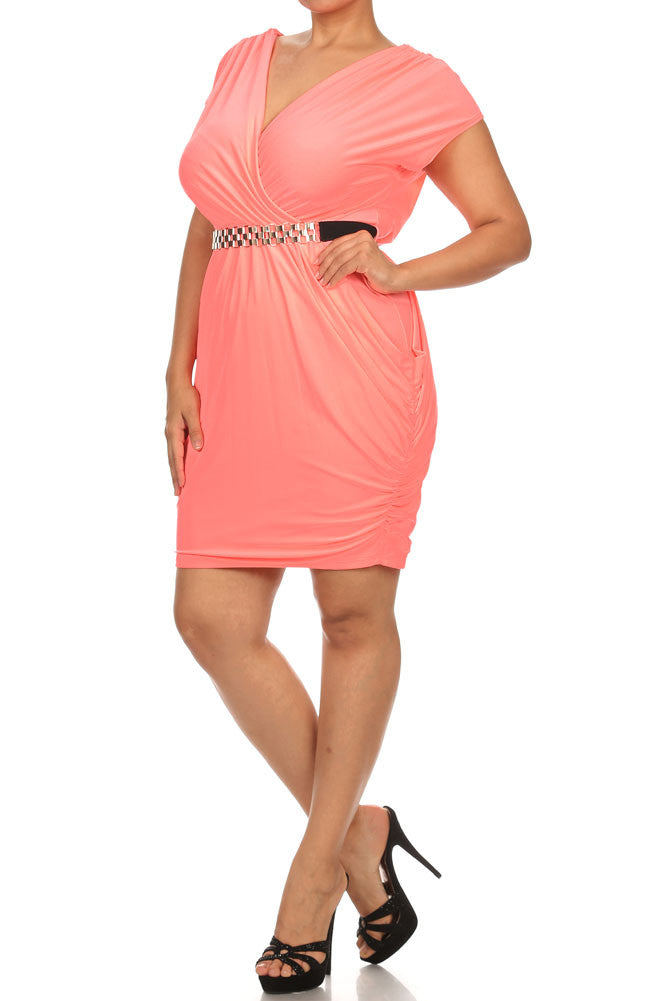 Plus Size Captivating Ruched Belted Neon Peach Dress