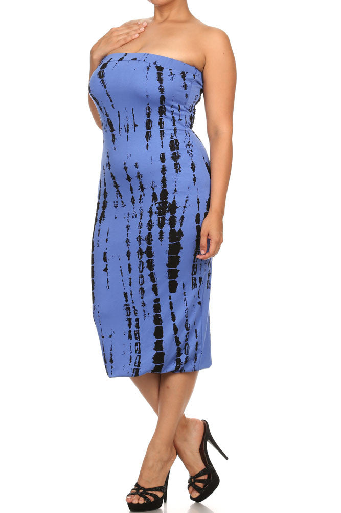 Plus Size Painted Canvas Blue Tube Dress