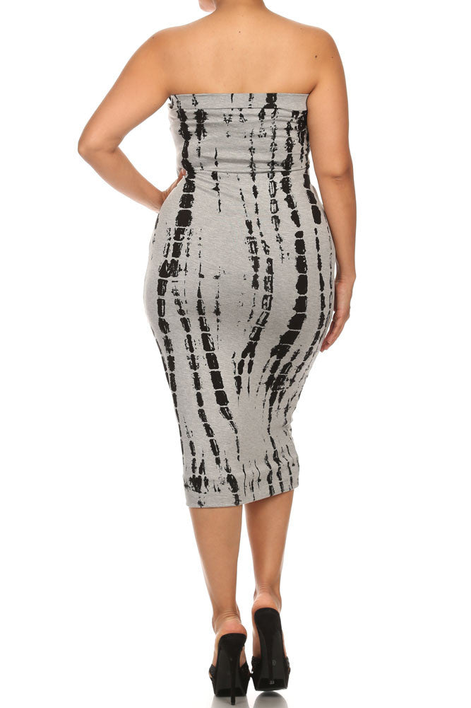 Plus Size Painted Canvas Grey Tube Dress