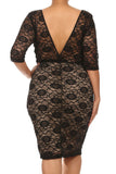 Plus Size See Through Lace Layered Tan Midi Dress