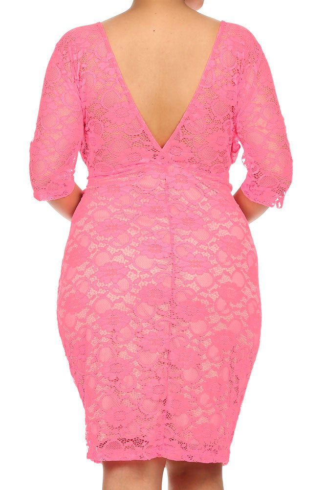 Plus Size See Through Lace Layered Pink Midi Dress