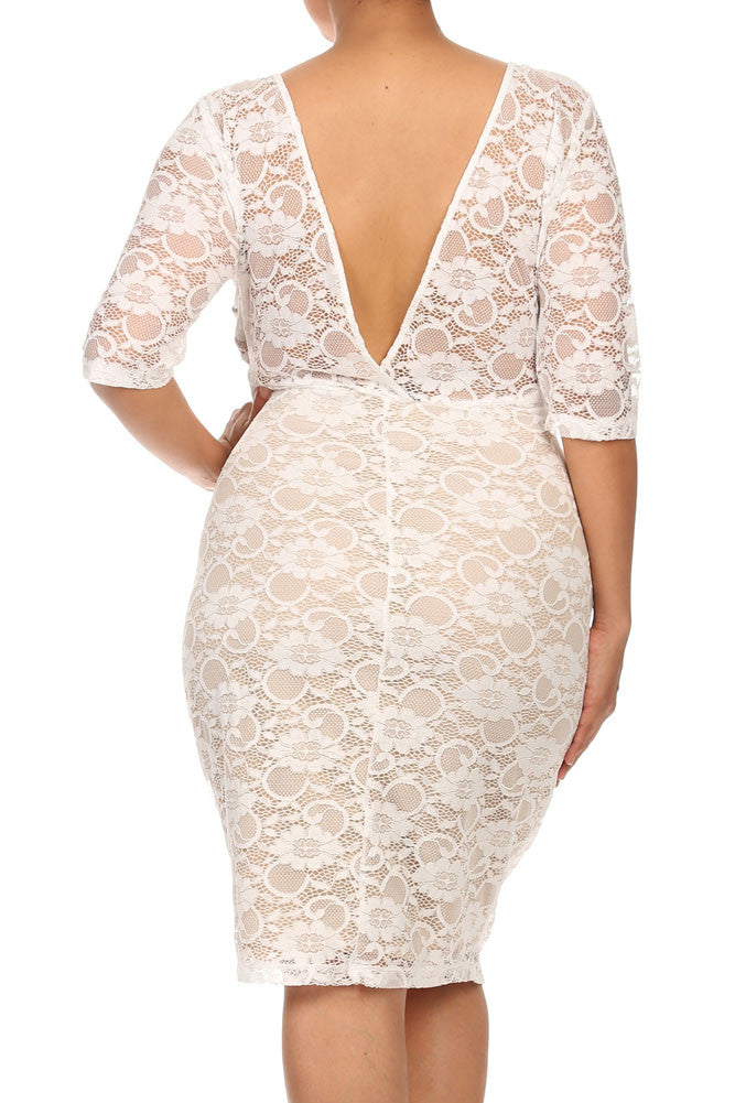 Plus Size See Through Lace Layered White Midi Dress