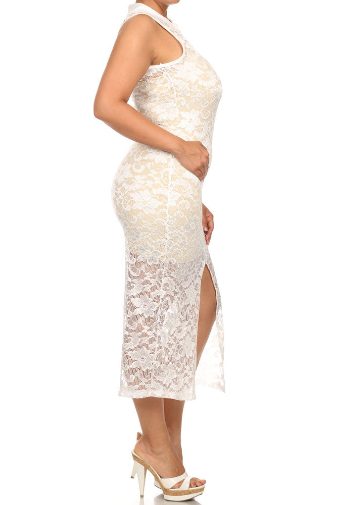 Plus Size See Through Lace Zip Up White Dress        (Inner-lining not included with dress)