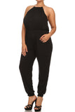 Plus Size Fabulous Gold Collar Black Jumpsuit