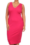 Plus Size Glamorous Midi Pink Dress