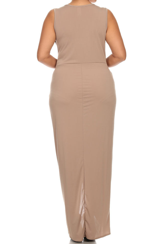 Plus Size Luring Knot Front Tan Maxi Dress