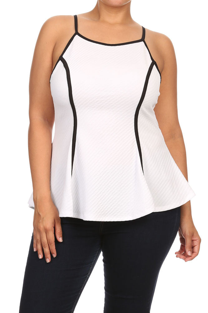 Plus Size Chic Textured Trimmed White A-Line Top