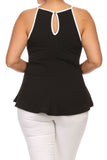 Plus Size Chic Textured Trimmed Black A-Line Top