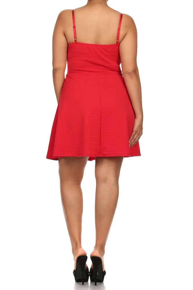 Plus Size Wonderland Skater Red Ribbed Dress