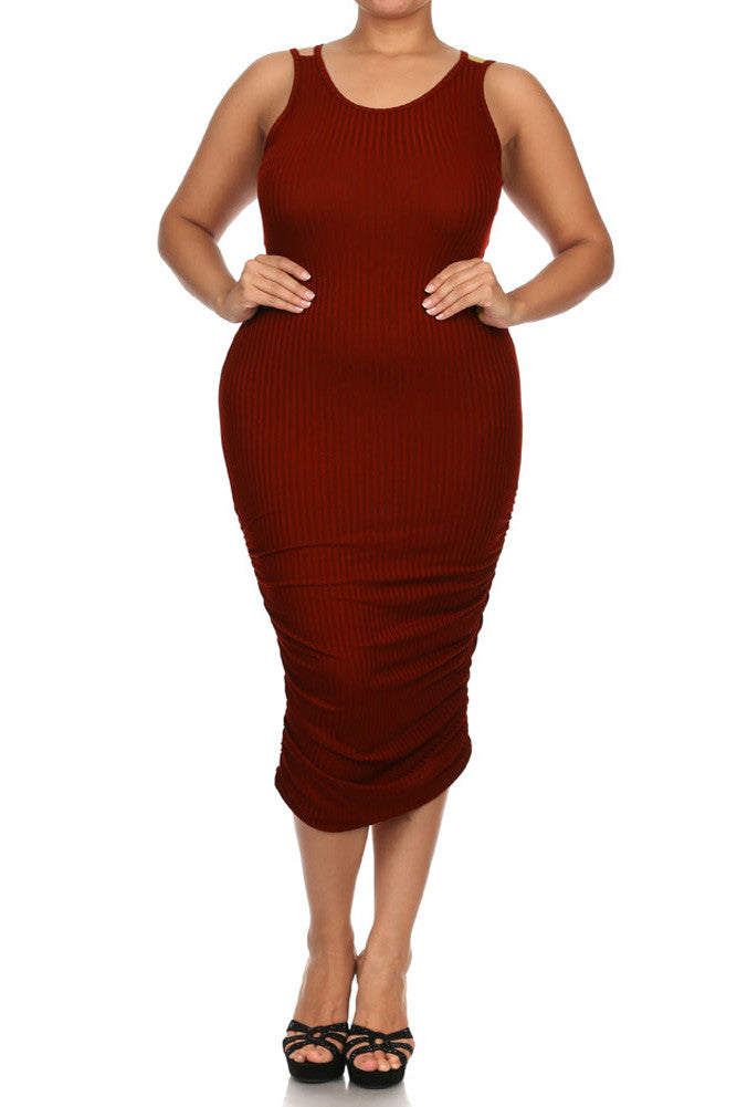 Plus Size Chic Ruched Burgundy Midi Dress