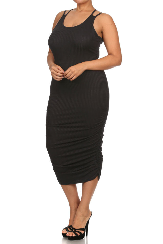 Plus Size Chic Ruched Black Midi Dress