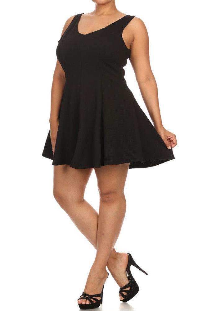 Plus Size V Neck Princess Black Skater Dress