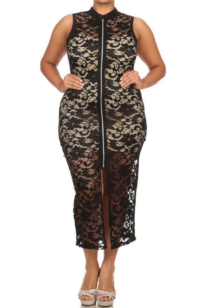 Plus Size See Through Lace Zip Up Black Dress (Inner-lining not included with dress) - $18.99