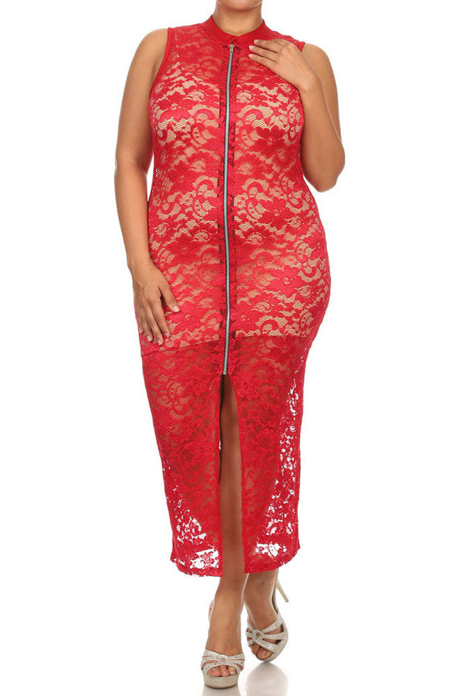 Plus Size See Through Lace Zip Up Red Dress  (Inner-lining not included with dress)