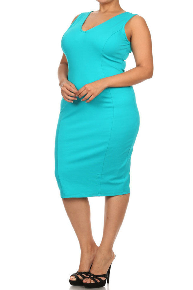 Plus Size Glamorous Midi Teal Dress
