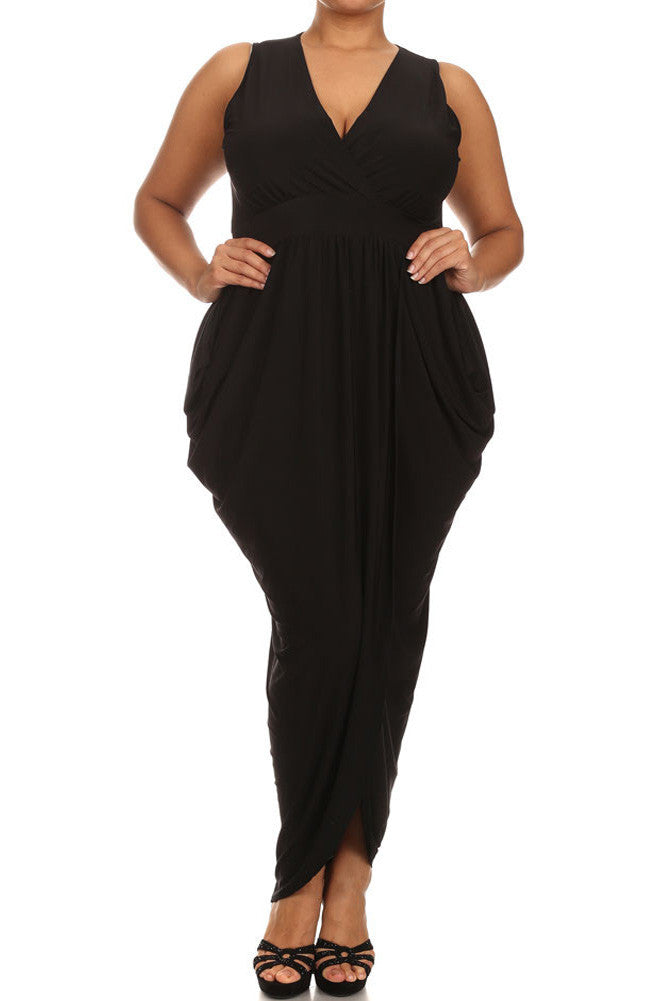 Plus Size Radiance Tulip Hem Black Maxi Dress