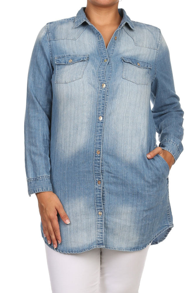 Plus Size Free Spirit Button Up Denim Top