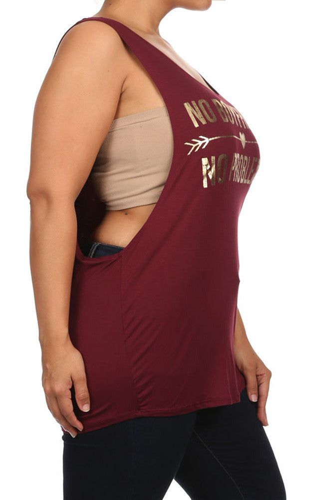 Plus Size No Boyfriend No Problems Burgundy Top