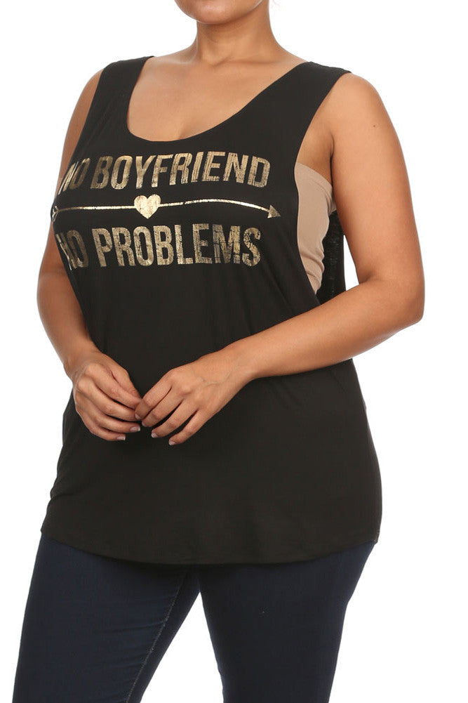 Plus Size No Boyfriend No Problems Black Top