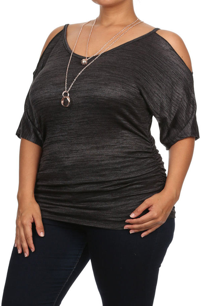 Plus Size Pretty Cut Out Shoulders Ruched Grey Top