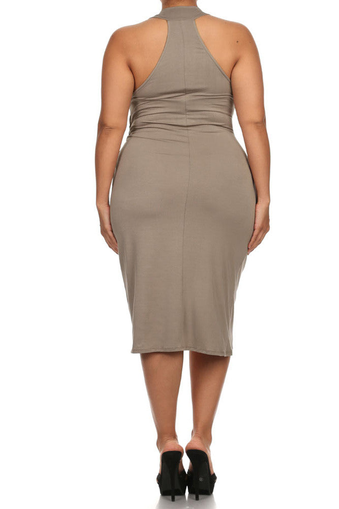 Plus Size Sexy Draped Surplice Taupe Midi Dress