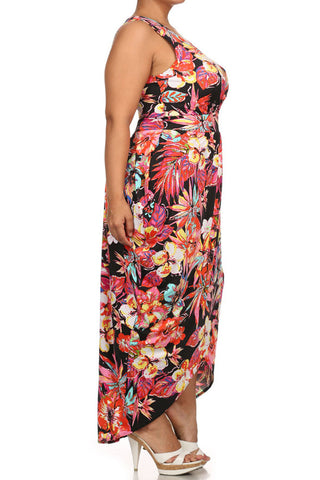 Plus Size Floral Love Tulip Hem Pink Maxi Dress