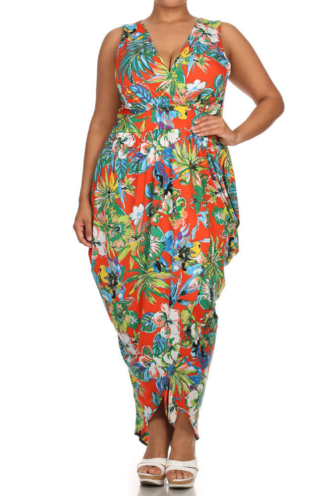 Plus Size Floral Love Tulip Hem Orange Maxi Dress