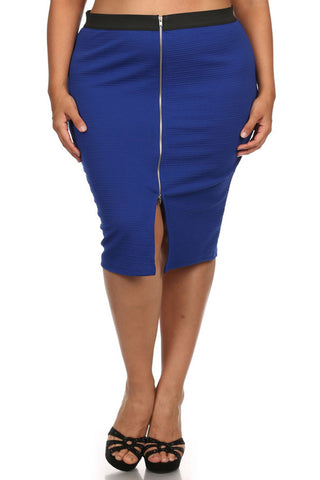 Plus Size Mod Zipper Front Ribbed Blue Midi Skirt