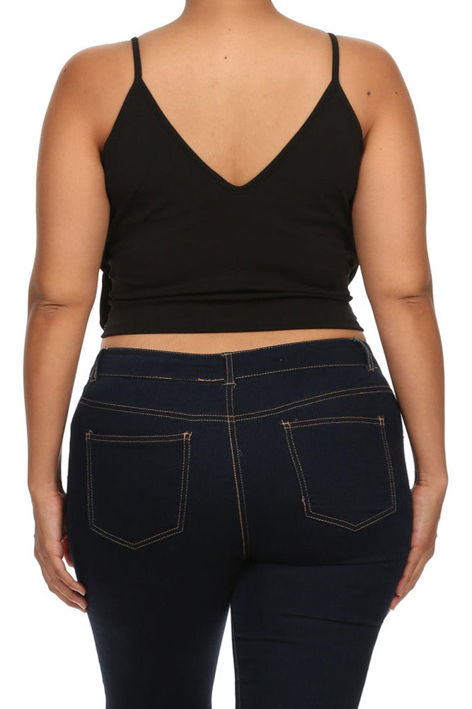 Plus Size Sweetheart Midriff Cut Out Crop Top
