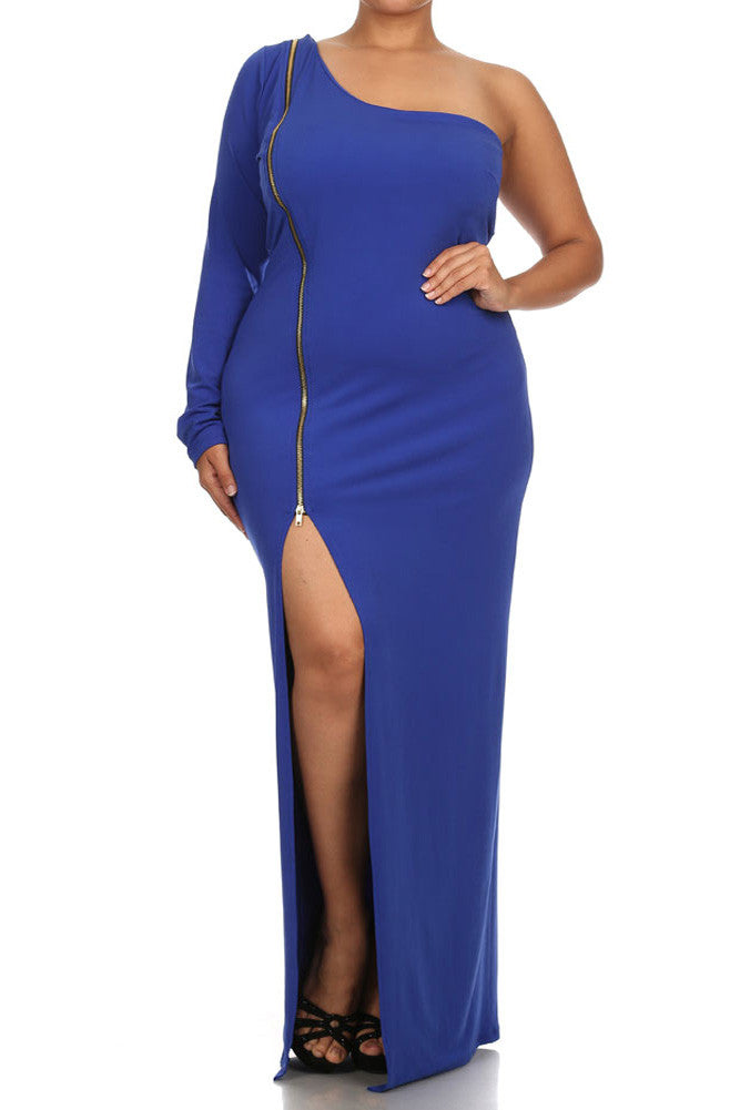 Plus Size Sexy One Sleeve Zipper Maxi Blue Dress