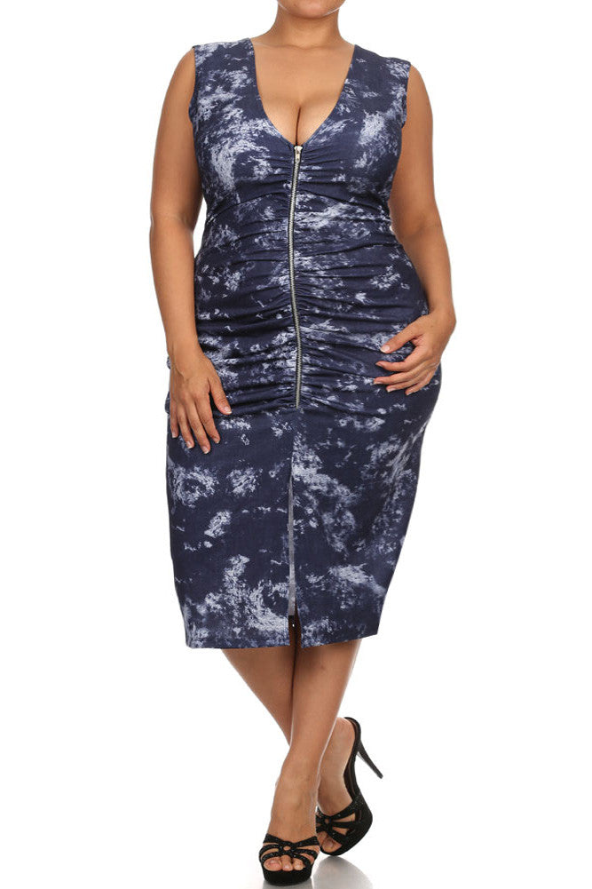 Plus Size Sky Clouds Ruched Zippered Midi Dress