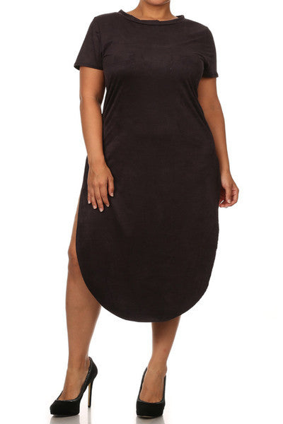 Plus Size Suede Sexy Open Side Midi Dress