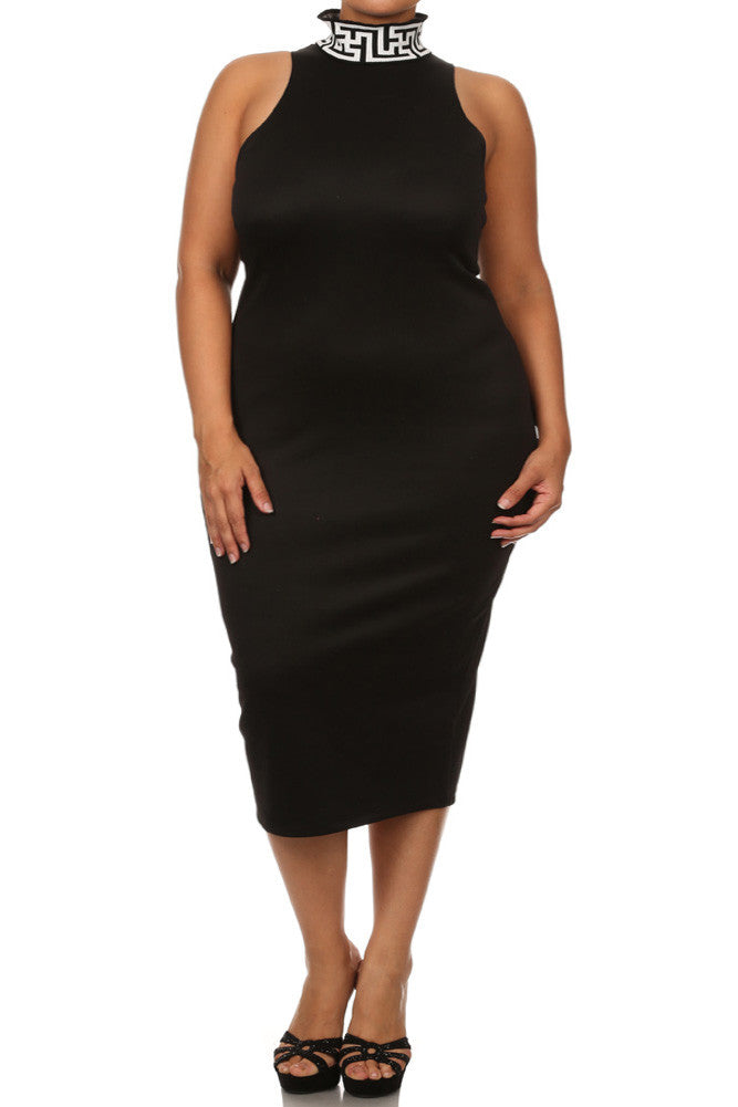Plus Size Mod Maze Print High-Neck Midi Black Dress