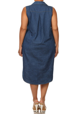 Plus Size Chic Weekender Denim Maxi Shirt Dress