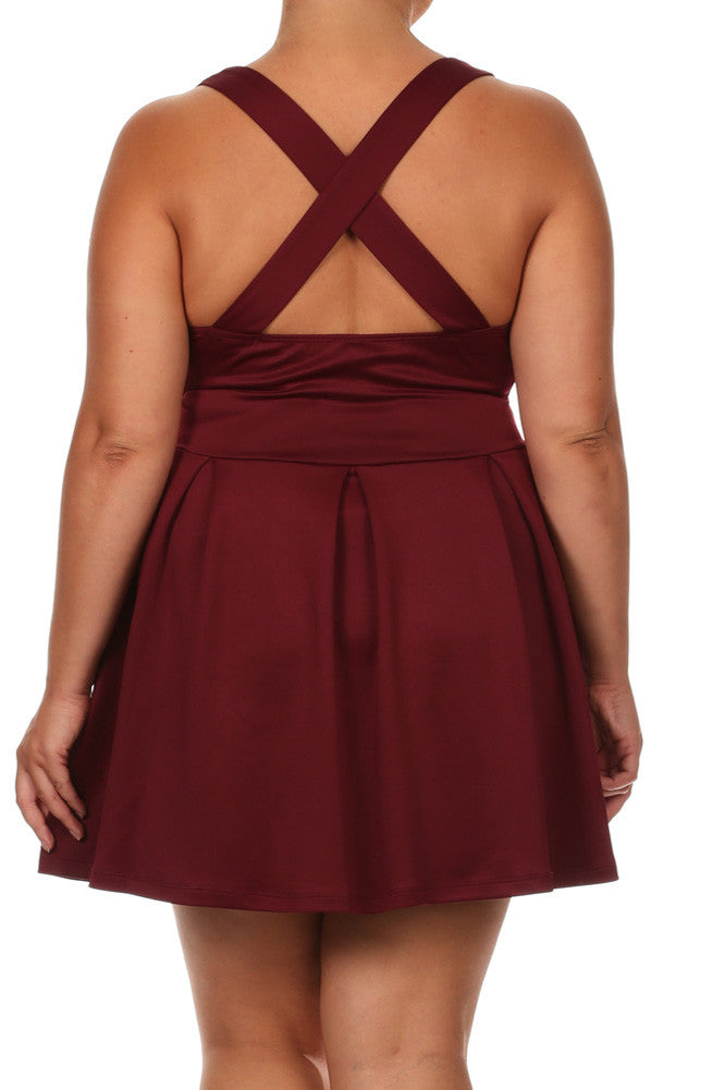 Plus Size Flare Game Crossed Back Burgundy Dress