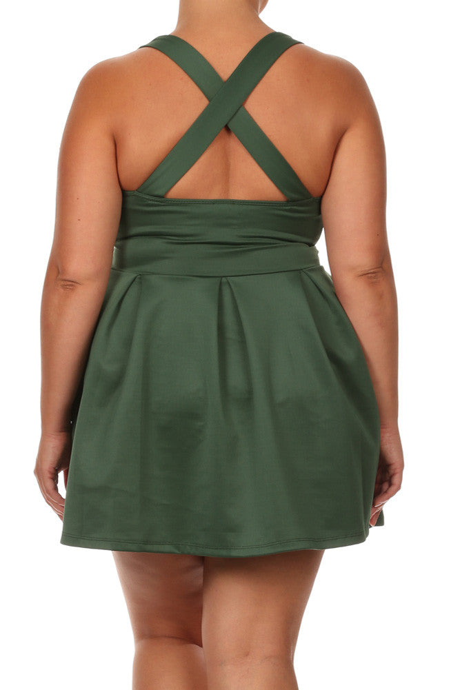 Plus Size Flare Game Crossed Back Olive Dress