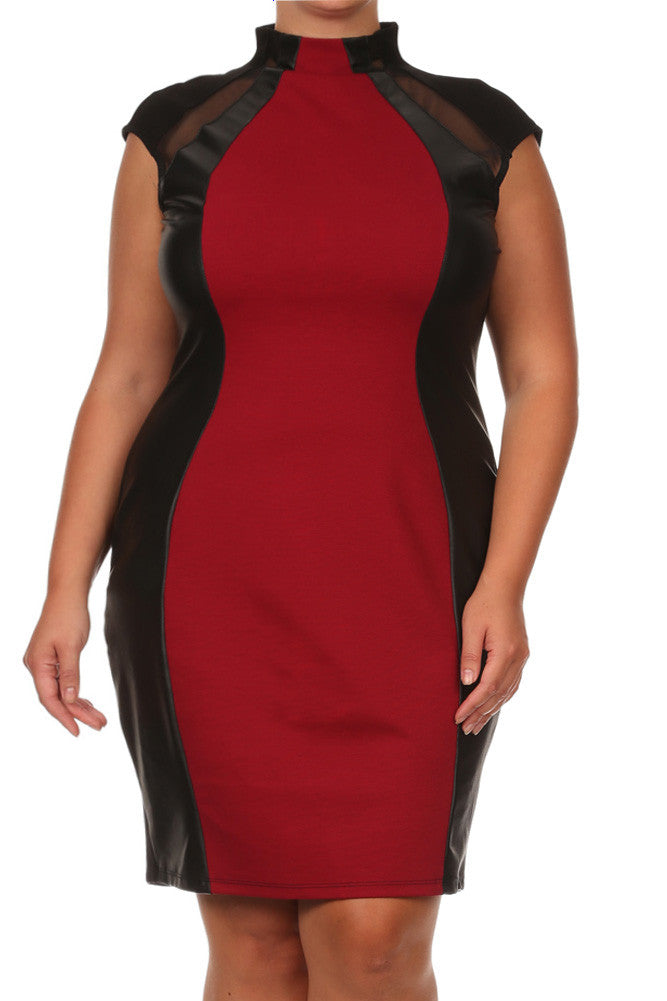 Plus Size City Night Leather Paneled Red Midi Dress