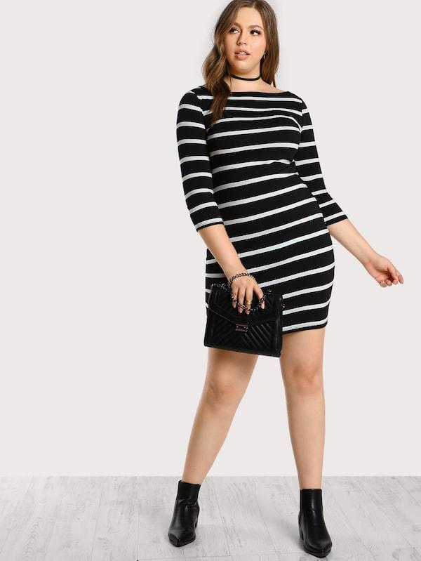 Plus Size 3/4 Sleeve Striped Tee Dress